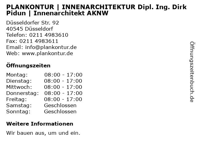 PLANKONTUR   INNENARCHITEKTUR Dipl. Ing. Dirk Pidun   Innenarchitekt AKNRW in Düsseldorf: Adresse und Öffnungszeiten