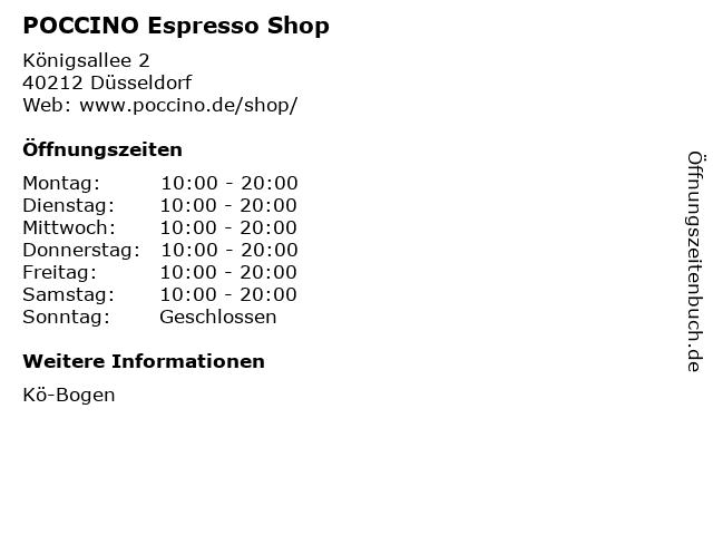 POCCINO Espresso Shop in Düsseldorf: Adresse und Öffnungszeiten