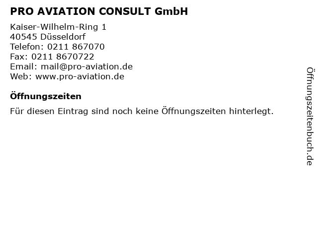 PRO AVIATION CONSULT GmbH in Düsseldorf: Adresse und Öffnungszeiten