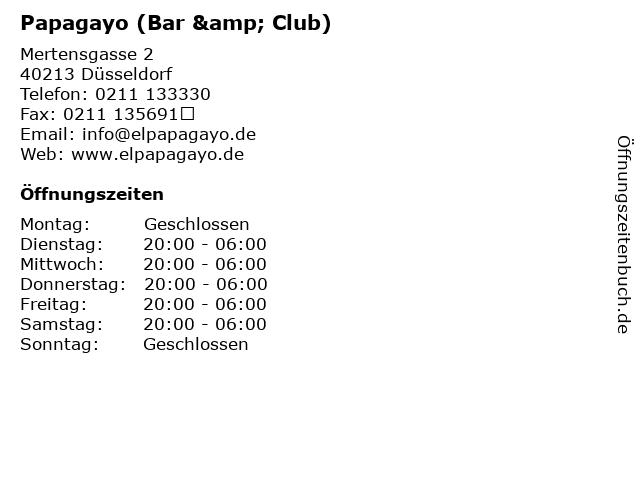 Papagayo (Bar & Club) in Düsseldorf: Adresse und Öffnungszeiten