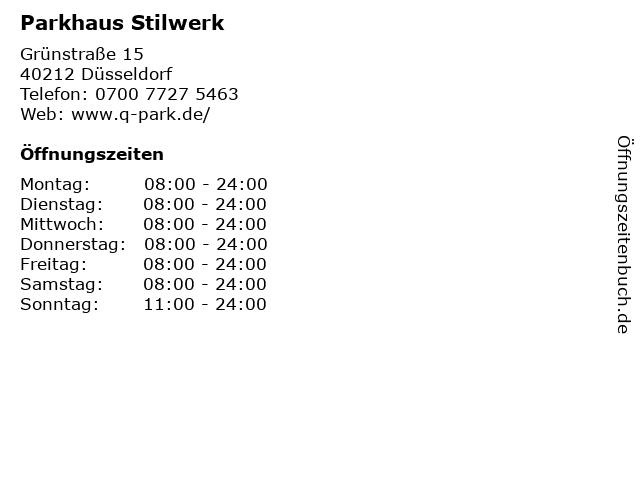 ᐅ öffnungszeiten Parkhaus Stilwerk Grünstraße 15 In Düsseldorf