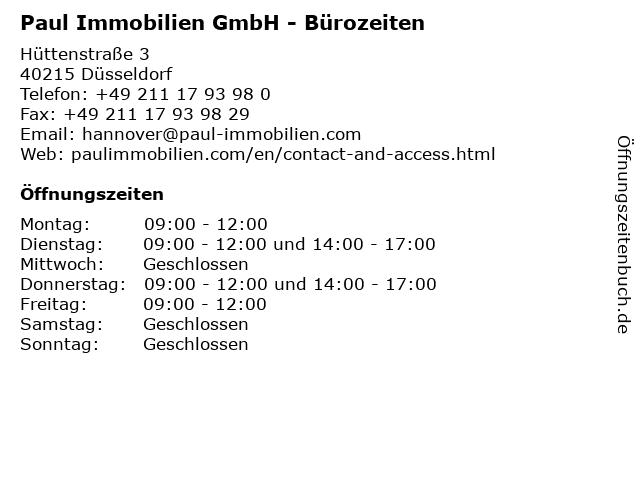 Paul Immobilien GmbH - Bürozeiten in Düsseldorf: Adresse und Öffnungszeiten