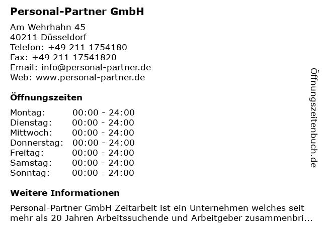 Personal-Partner GmbH in Düsseldorf: Adresse und Öffnungszeiten