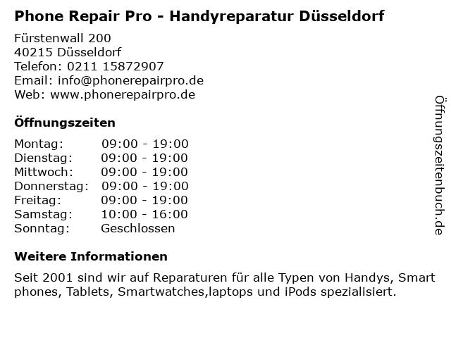 Phone Repair Pro - Handyreparatur Düsseldorf in Düsseldorf: Adresse und Öffnungszeiten