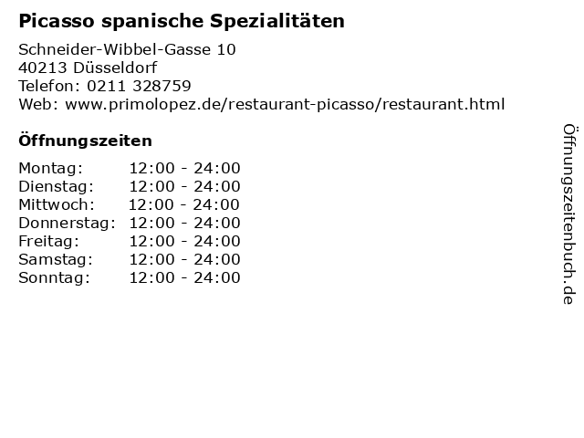 Picasso spanische Spezialitäten in Düsseldorf: Adresse und Öffnungszeiten