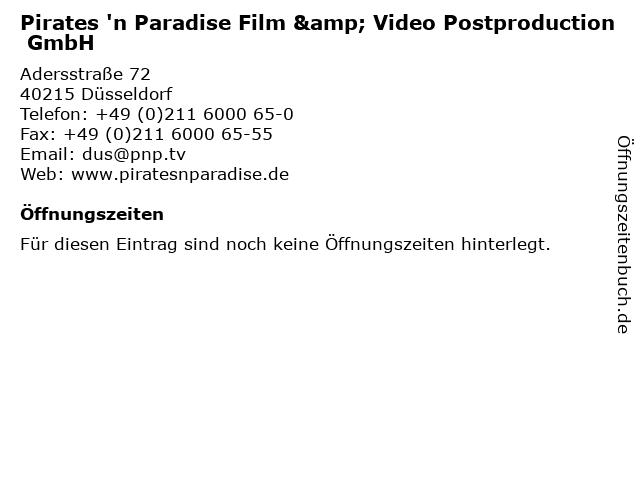 Pirates 'n Paradise Film & Video Postproduction GmbH in Düsseldorf: Adresse und Öffnungszeiten