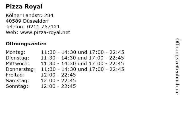 Pizza Royal in Düsseldorf: Adresse und Öffnungszeiten