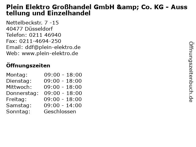 Plein Elektro Großhandel GmbH & Co. KG - Ausstellung und Einzelhandel in Düsseldorf: Adresse und Öffnungszeiten