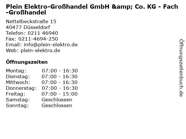 Plein Elektro-Großhandel GmbH & Co. KG - Fach-Großhandel in Düsseldorf: Adresse und Öffnungszeiten