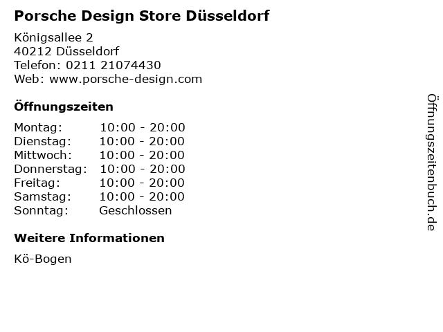 Porsche Design Store Düsseldorf in Düsseldorf: Adresse und Öffnungszeiten