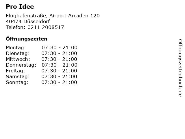 Pro Idee in Düsseldorf: Adresse und Öffnungszeiten