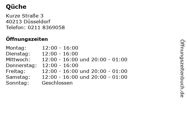 Qüche in Düsseldorf: Adresse und Öffnungszeiten