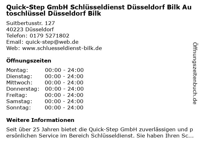 Quick-Step GmbH Schlüsseldienst Düsseldorf Bilk Autoschlüssel Düsseldorf Bilk in Düsseldorf: Adresse und Öffnungszeiten