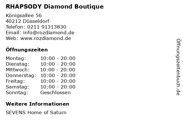 RHAPSODY Diamond Boutique in Düsseldorf: Adresse und Öffnungszeiten
