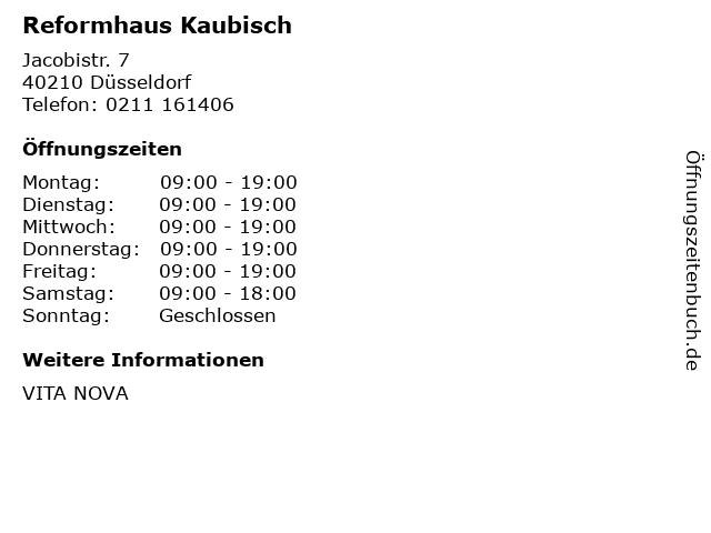 Reformhaus Kaubisch in Düsseldorf: Adresse und Öffnungszeiten