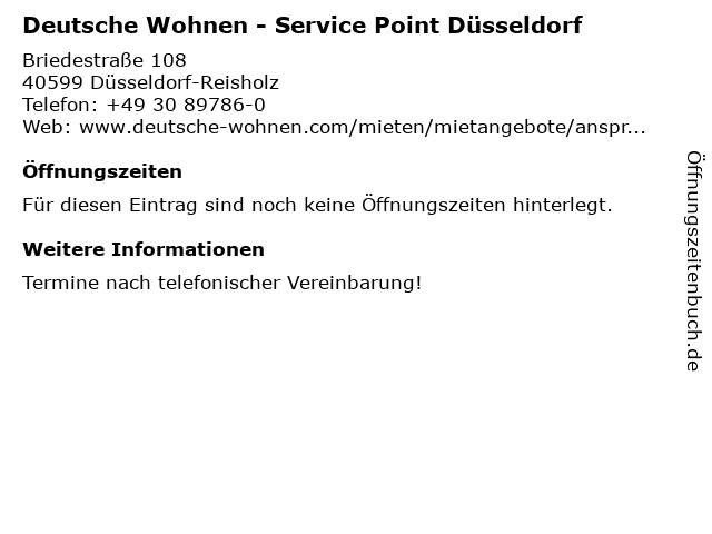 Deutsche Wohnen - Service Point Düsseldorf in Düsseldorf-Reisholz: Adresse und Öffnungszeiten