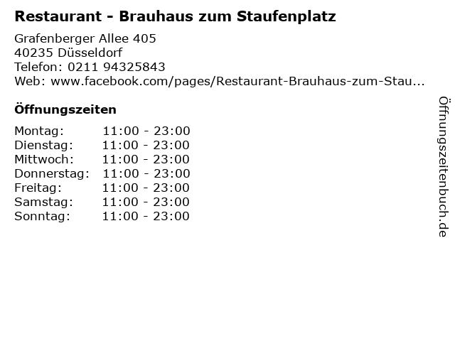 Restaurant - Brauhaus zum Staufenplatz in Düsseldorf: Adresse und Öffnungszeiten