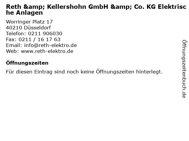 Reth & Kellershohn GmbH & Co. KG Elektrische Anlagen in Düsseldorf: Adresse und Öffnungszeiten