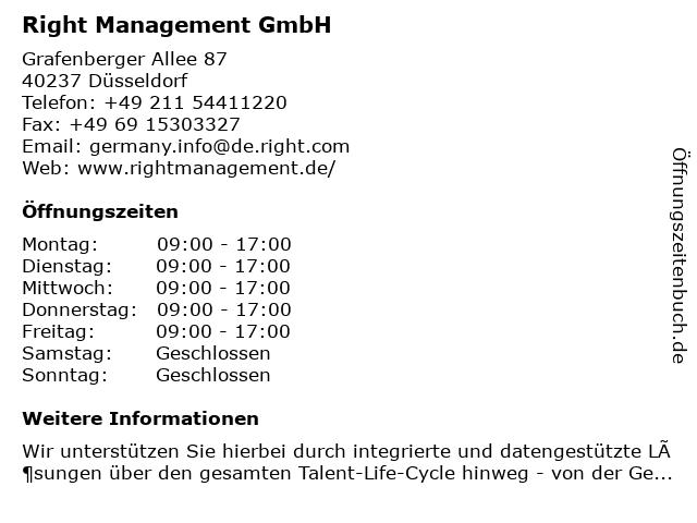 Right Management (Deutschland) GmbH in Düsseldorf: Adresse und Öffnungszeiten