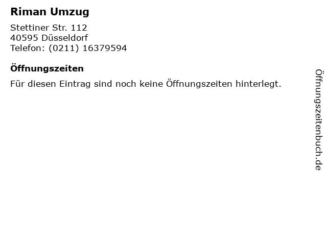 Riman Umzug in Düsseldorf: Adresse und Öffnungszeiten