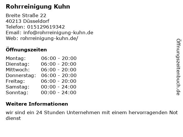Rohrreinigung Kuhn in Düsseldorf: Adresse und Öffnungszeiten