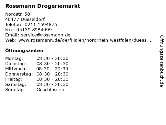 Rossmann Drogeriemarkt in Düsseldorf: Adresse und Öffnungszeiten