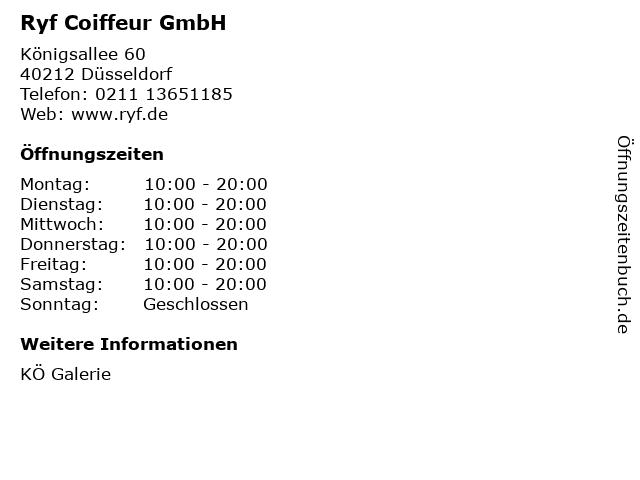 Ryf Coiffeur GmbH in Düsseldorf: Adresse und Öffnungszeiten