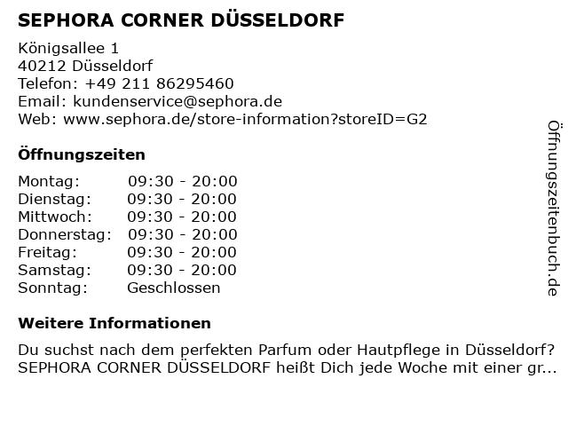 SEPHORA CORNER DÜSSELDORF in Düsseldorf: Adresse und Öffnungszeiten