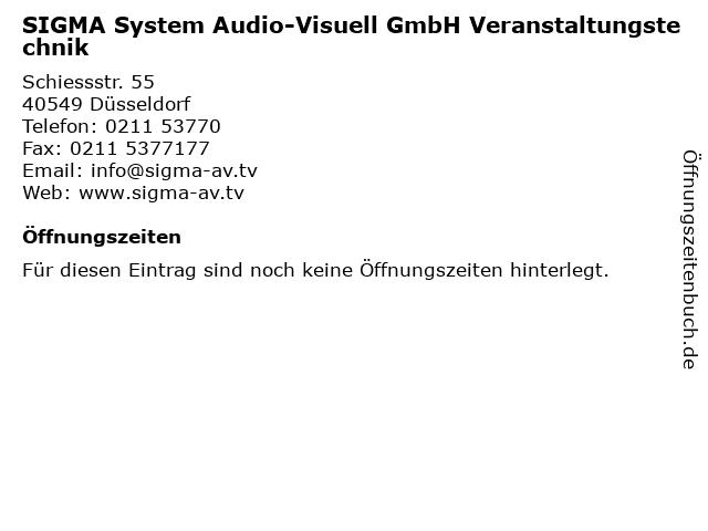 SIGMA System Audio-Visuell GmbH Veranstaltungstechnik in Düsseldorf: Adresse und Öffnungszeiten