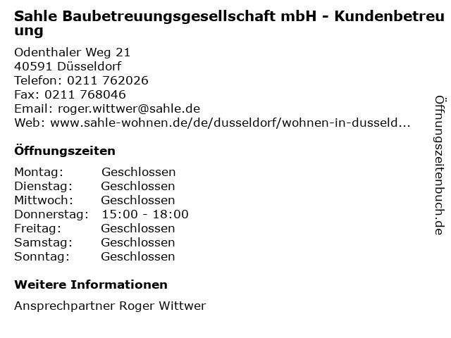 Sahle Baubetreuungsgesellschaft mbH - Kundenbetreuung in Düsseldorf: Adresse und Öffnungszeiten