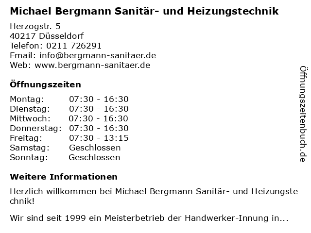 Sanitär- und Heizungstechnik Bergmann in Düsseldorf: Adresse und Öffnungszeiten