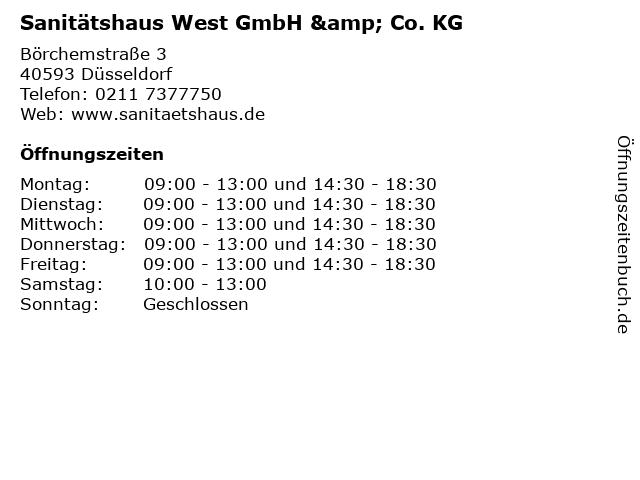 Sanitätshaus West GmbH & Co. KG in Düsseldorf: Adresse und Öffnungszeiten