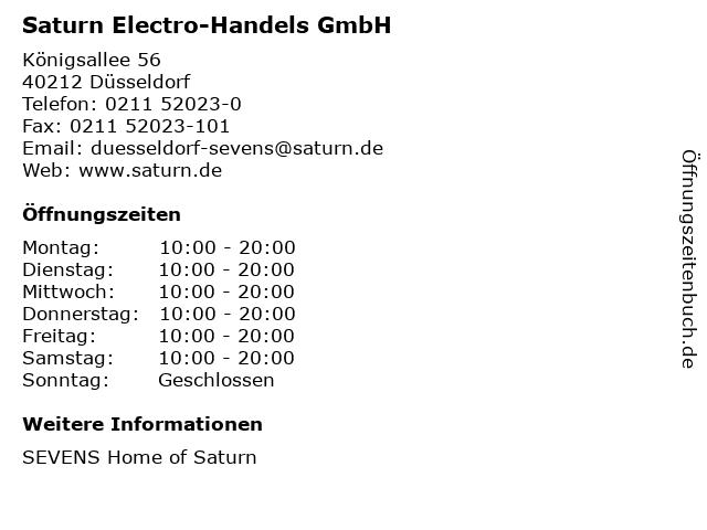 Saturn Electro-Handels GmbH in Düsseldorf: Adresse und Öffnungszeiten