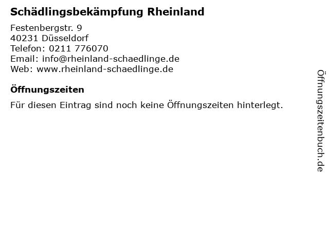 Schädlingsbekämpfung Rheinland in Düsseldorf: Adresse und Öffnungszeiten