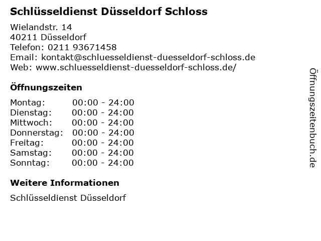 Schlüsseldienst Düsseldorf Schloss in Düsseldorf: Adresse und Öffnungszeiten
