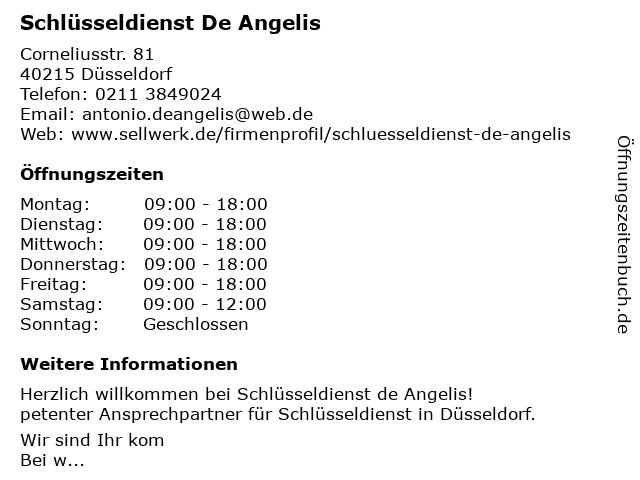Schlüsseldienst de Angelis in Düsseldorf: Adresse und Öffnungszeiten