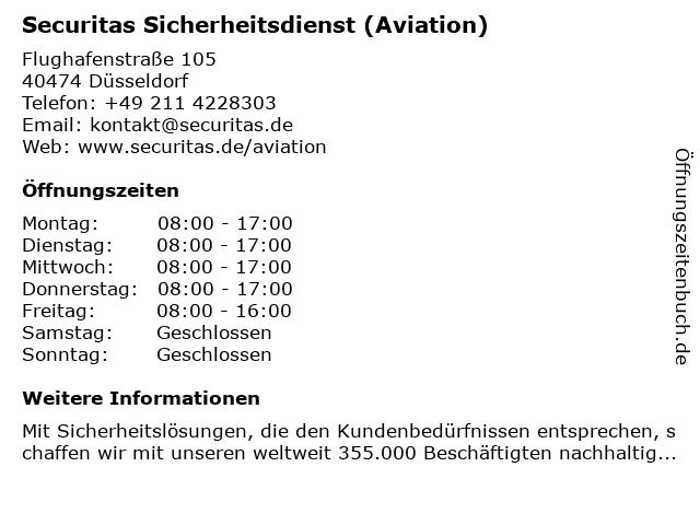 Securitas Sicherheitsdienst (Aviation) in Düsseldorf: Adresse und Öffnungszeiten