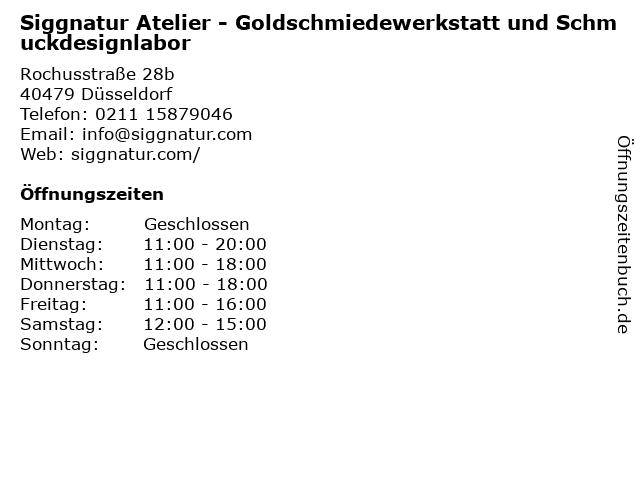 Siggnatur Atelier in Düsseldorf: Adresse und Öffnungszeiten