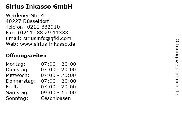 ᐅ öffnungszeiten Sirius Inkasso Gmbh Werdener Str 4 In Düsseldorf