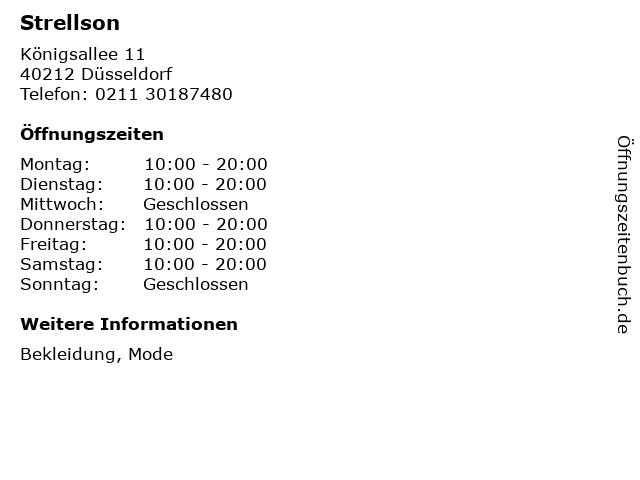 Strellson in Düsseldorf: Adresse und Öffnungszeiten
