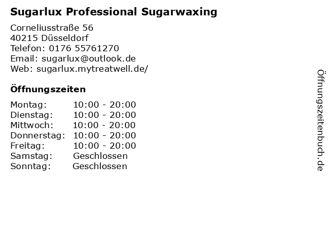 Sugarlux Professional Sugarwaxing in Düsseldorf: Adresse und Öffnungszeiten