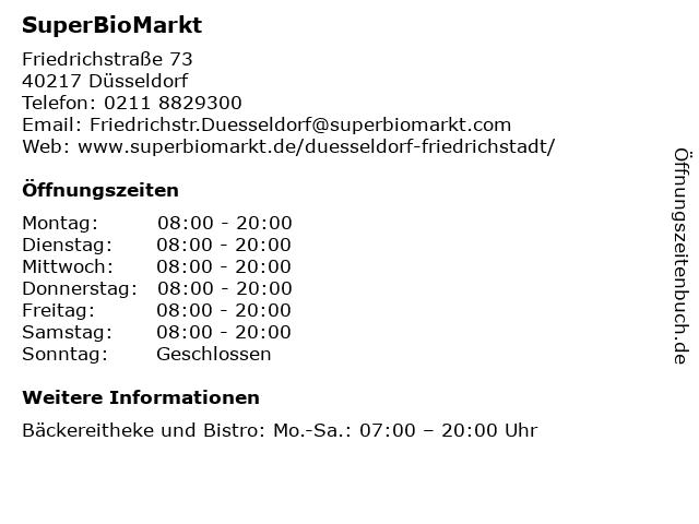 SuperBioMarkt in Düsseldorf: Adresse und Öffnungszeiten