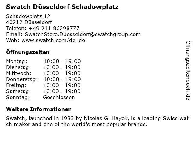 Swatch Düsseldorf Schadowplatz in Düsseldorf: Adresse und Öffnungszeiten