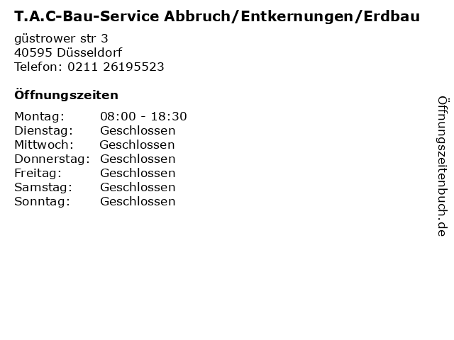 T.A.C-Bau-Service Abbruch/Entkernungen/Erdbau in Düsseldorf: Adresse und Öffnungszeiten