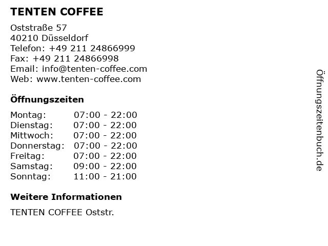 TENTEN COFFEE in Düsseldorf: Adresse und Öffnungszeiten