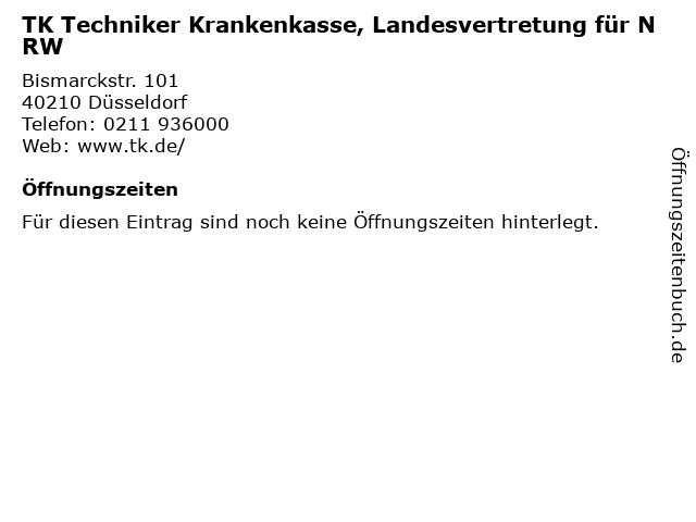 TK Techniker Krankenkasse, Landesvertretung für NRW in Düsseldorf: Adresse und Öffnungszeiten