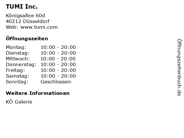 TUMI Inc. in Düsseldorf: Adresse und Öffnungszeiten