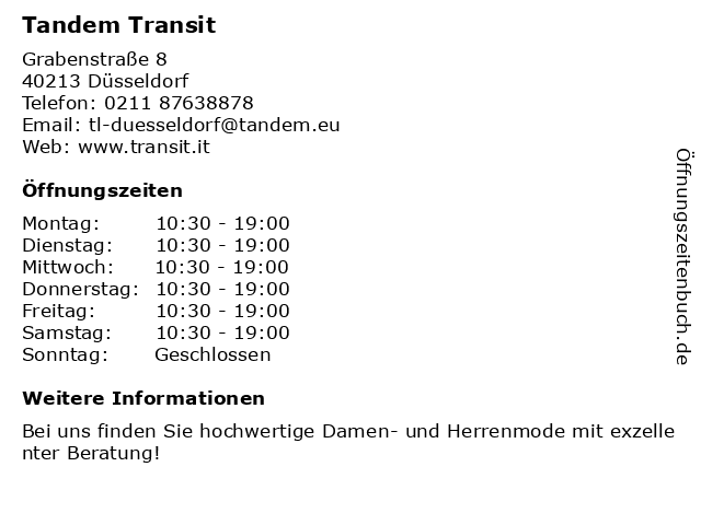 Tandem Transit in Düsseldorf: Adresse und Öffnungszeiten