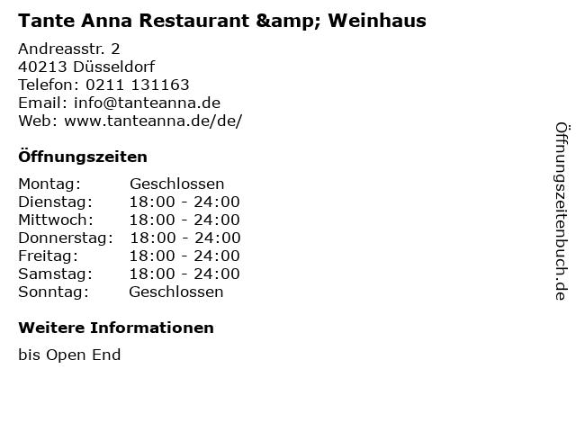 Tante Anna Restaurant & Weinhaus in Düsseldorf: Adresse und Öffnungszeiten
