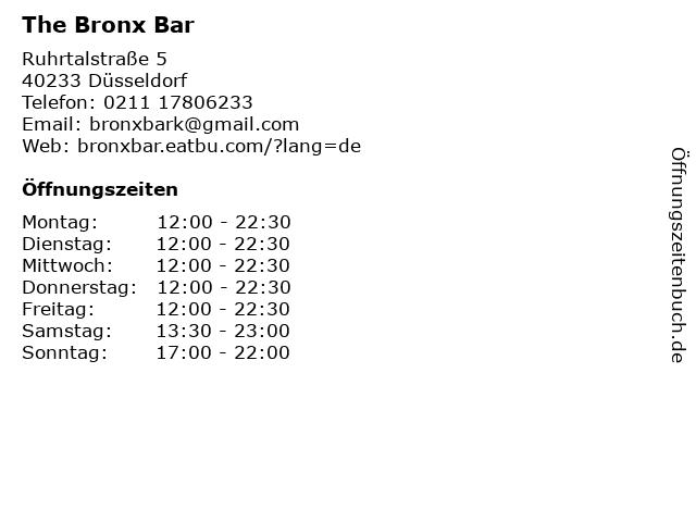 The BRONX BAR in Düsseldorf: Adresse und Öffnungszeiten